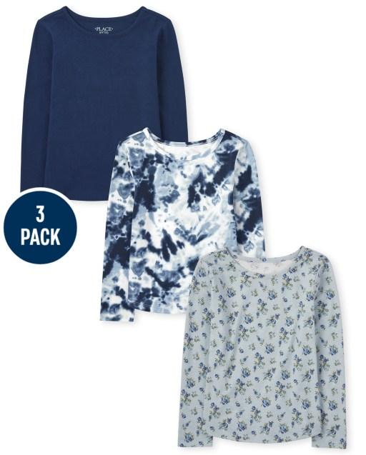 Girls Long Sleeve Print Top 3-Pack
