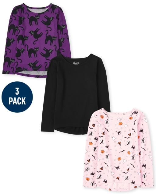 Girls Long Sleeve Halloween Top 3-Pack