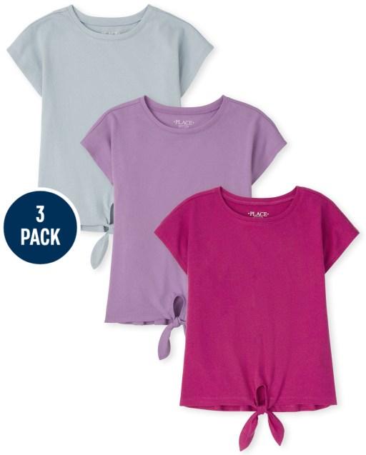 Paquete de 3 camisetas básicas de manga corta con lazo en la parte delantera para niñas