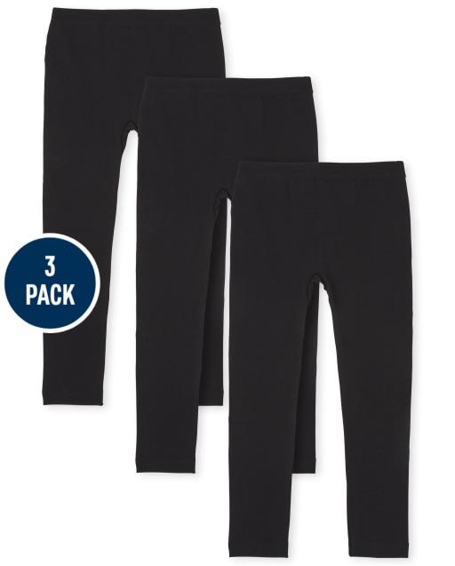 Girls Knit Fleece Lined Leggings 3-Pack