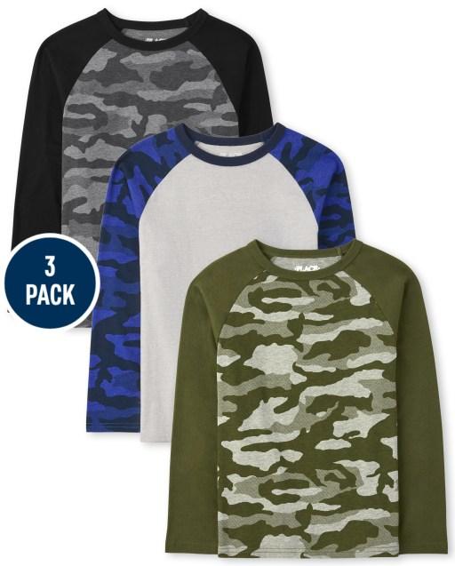Boys Long Sleeve Camo Raglan Top 3-Pack