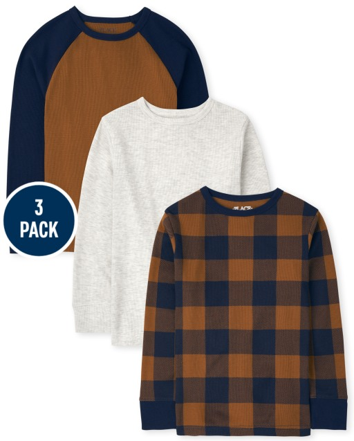 Boys Long Sleeve Solid Plaid And Raglan Thermal Top 3-Pack