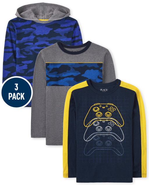 Boys Long Sleeve Video Game Top Camo Hoodie Top And Camp Striped Top 3-Pack
