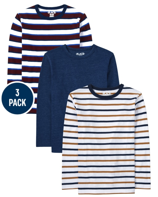 Boys Long Sleeve Solid And Striped Top 3-Pack
