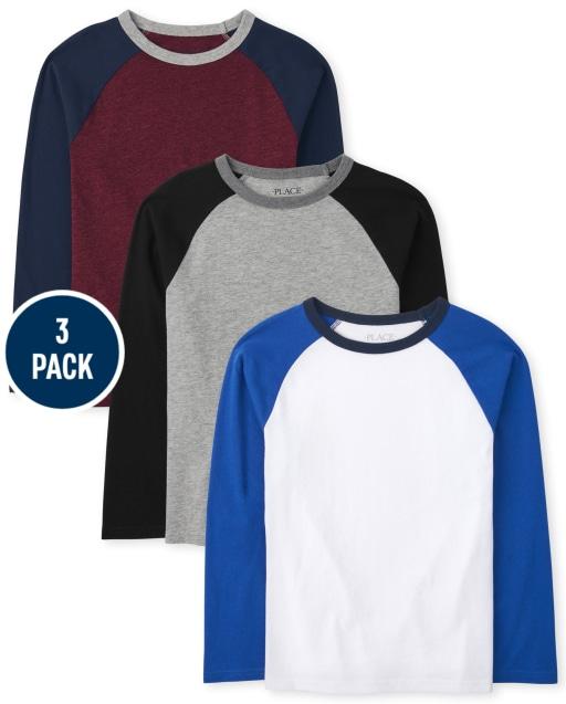 Boys Long Sleeve Raglan Top 3-Pack
