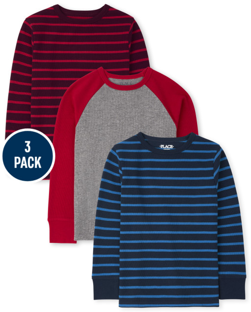 Boys Long Sleeve Striped And Raglan Thermal Top 3-Pack