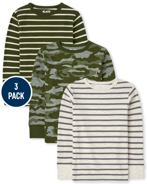Boys Long Sleeve Camo And Striped Thermal Top 3-Pack