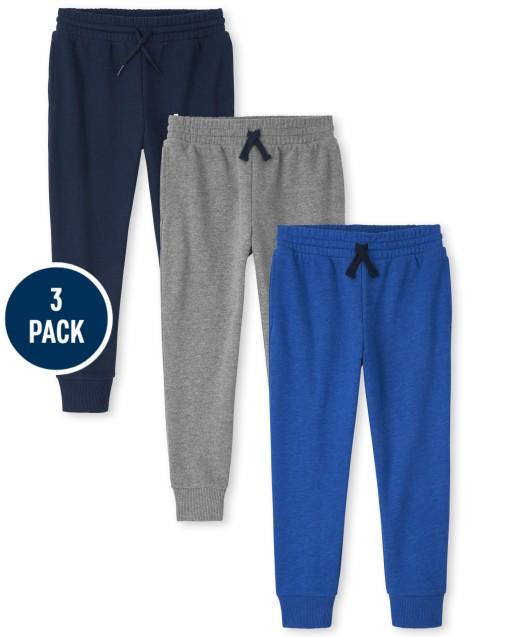 Boys Active Fleece Jogger Pants 3-Pack