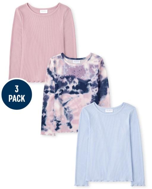 Pack de 3 camisetas deportivas de manga larga de color liso y acanalado con efecto tie dye para niñas