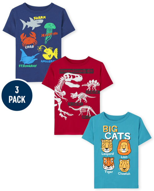 Toddler Boys Short Sleeve Animals Graphic Tee 3-Pack