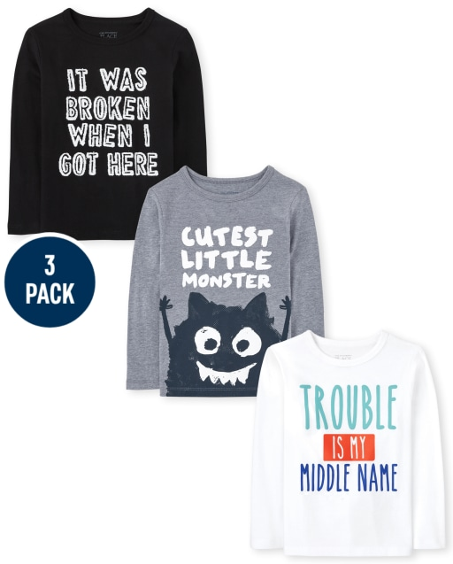 Toddler Boys Long Sleeve Trouble Graphic Tee 3-Pack