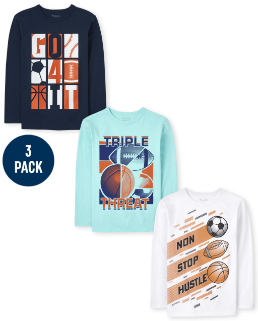 Boys Long Sleeve Sports Graphic Tee 3-Pack