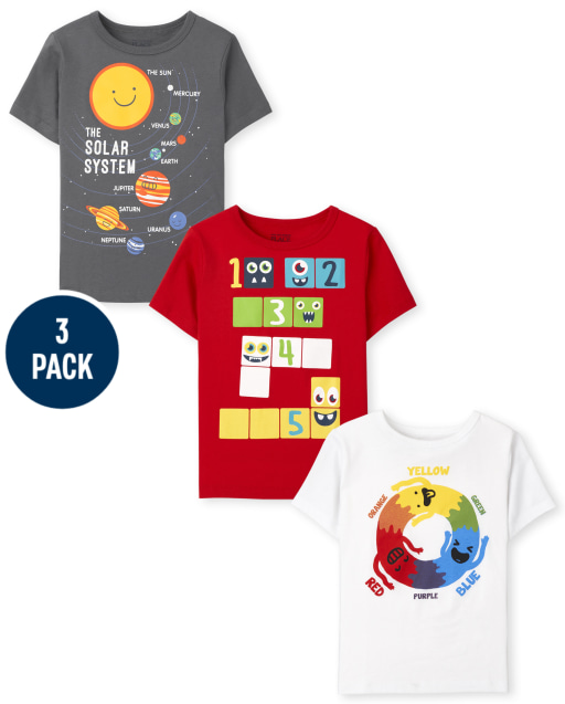 Toddler Boys Short Sleeve Numbers Solar System and Color Wheel Graphic Tee 3-Pack