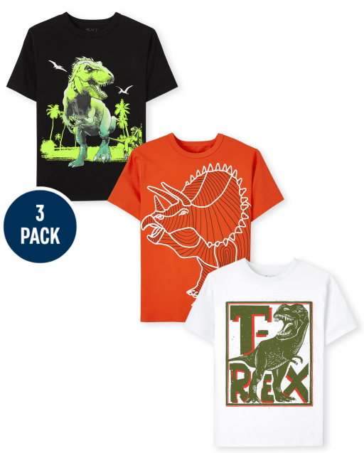 Boys Short Sleeve Dino Graphic Tee 3-Pack