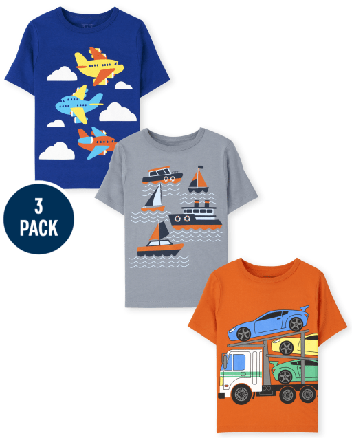 Toddler Boys Short Sleeve Planes Boats and Cars Graphic Tee 3-Pack