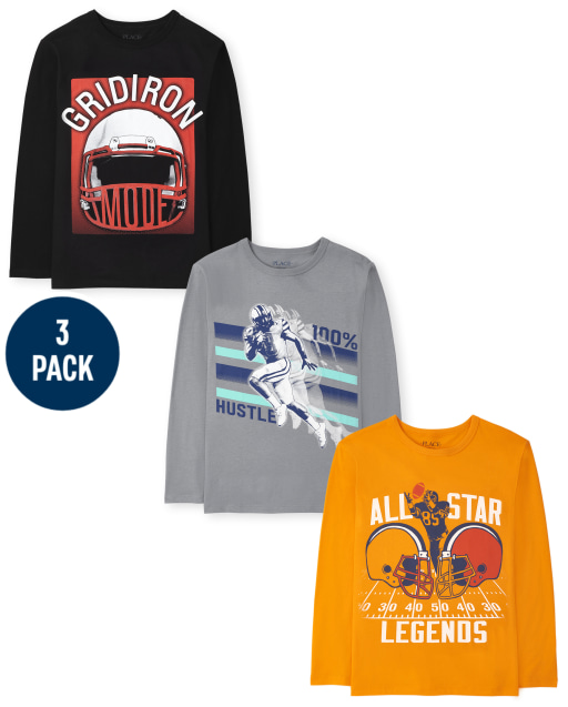 Boys Long Sleeve 'Gridiron Mode' 'All Star Legends' and '100% Hustle' Graphic Tee 3-Pack