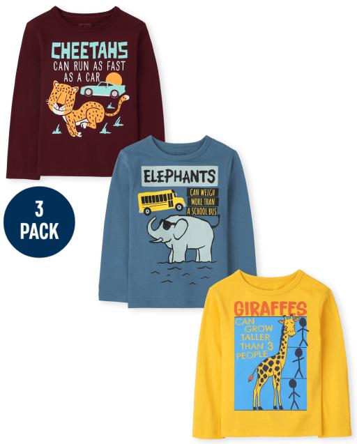 Toddler Boys Long Sleeve Cheetah Giraffe Elephant Fun Fact Graphic Tee 3-Pack