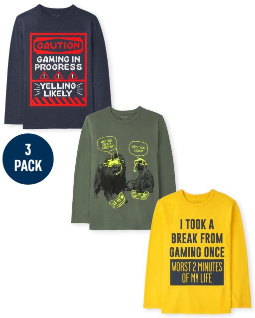 Boys Long Sleeve Video Game Humor Graphic Tee 3-Pack