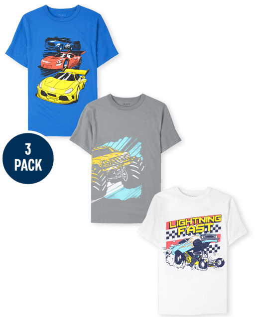 Boys Short Sleeve Fast Cars Graphic Tee 3-Pack