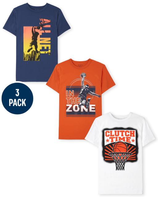 Boys Short Sleeve 'Slam Dunk Zone' 'Clutch Player' and 'All Net' Graphic Tee 3-Pack