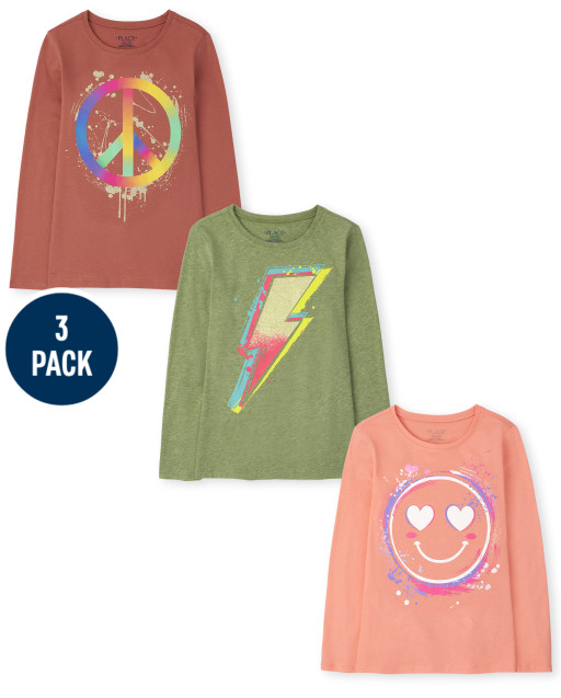 Girls Long Sleeve Peace Sign Smiley Face And Lightning Bolt Trend Graphic Tee 3-Pack