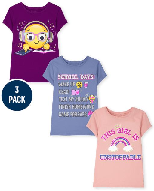 Niñas manga corta ' días escolares ' Inteligente cara sonriente y ' Este niñas es imparable ' Camiseta gráfica 3-Pack