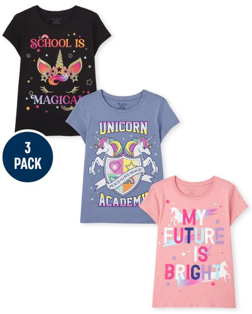 Paquete de 3 camisetas con estampado de unicornio escolar de manga corta para niñas
