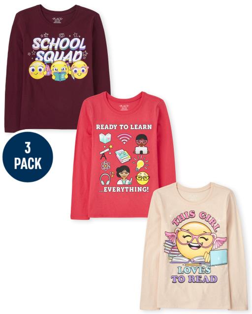 Girls Long Sleeve School Graphic Tee 3-Pack