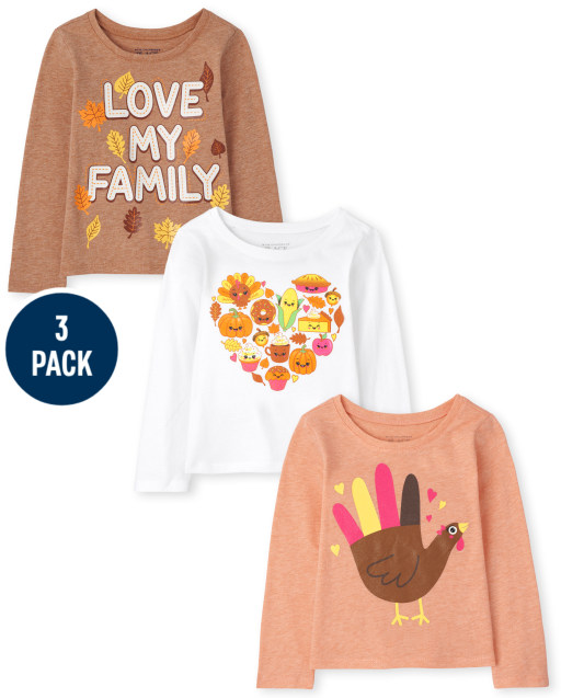 Toddler Girls Long Sleeve Fall Hand Turkey 'Love My Family' and Food Heart Graphic Tee 3-Pack