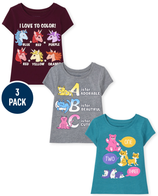 Toddler Girls Short Sleeve Unicorn Colors Cat Letters and Bear Fox Groundhog Numbers Graphic Tee 3-Pack