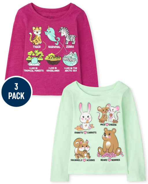 Toddler Girls Long Sleeve Animal Homes and Animal Foods Graphic Tee 2-Pack