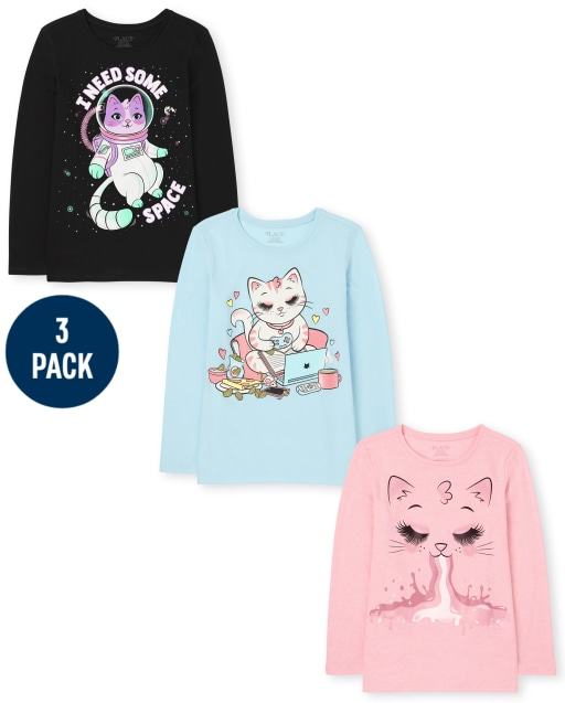 Girls Long Sleeve Cat Graphic Tee 3-Pack