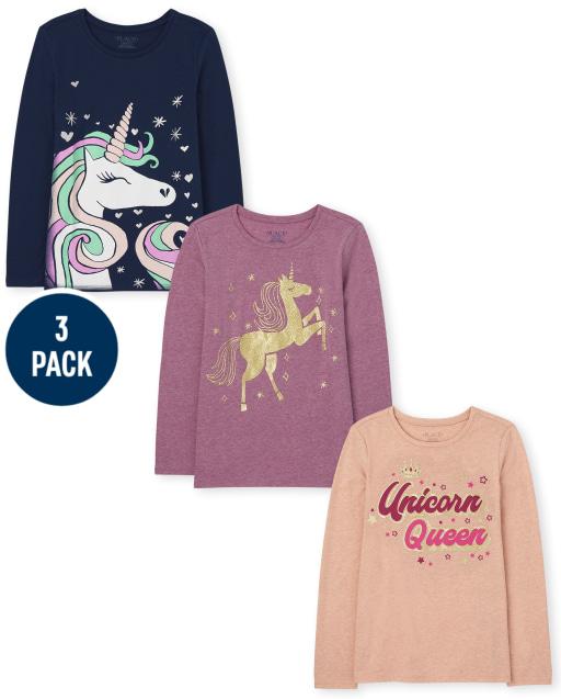 Girls Long Sleeve Unicorn Graphic Tee 3-Pack