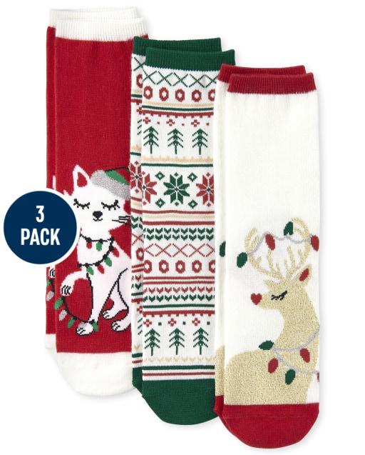 Girls Christmas Crew Socks 3-Pack