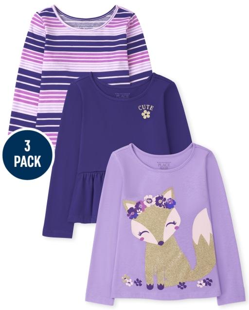Toddler Girls Long Sleeve Fox Peplum And Striped Top 3-Pack