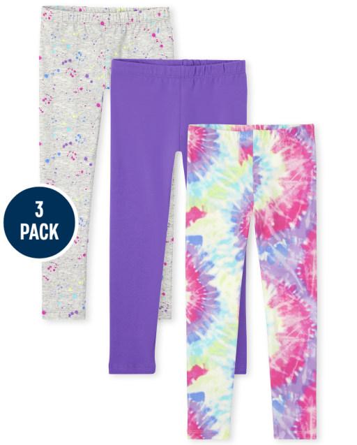 Girls Tie Dye Knit Leggings 3-Pack