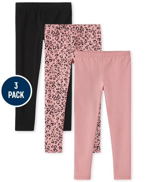 Girls Leopard Print Knit Leggings 3-Pack