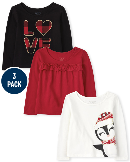 Toddler Girls Long Sleeve Penguin 'Love' And Ruffle Holiday Top 3-Pack