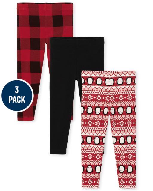 Toddler Girls Penguin Fairisle Solid And Buffalo Plaid Holiday Knit Leggings 3-Pack