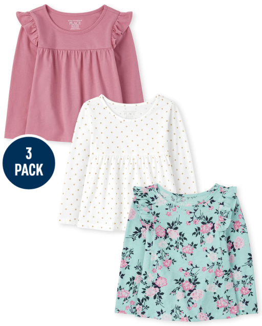 Toddler Girls Long Sleeve Solid Floral And Dot Print Ruffle Top 3-Pack
