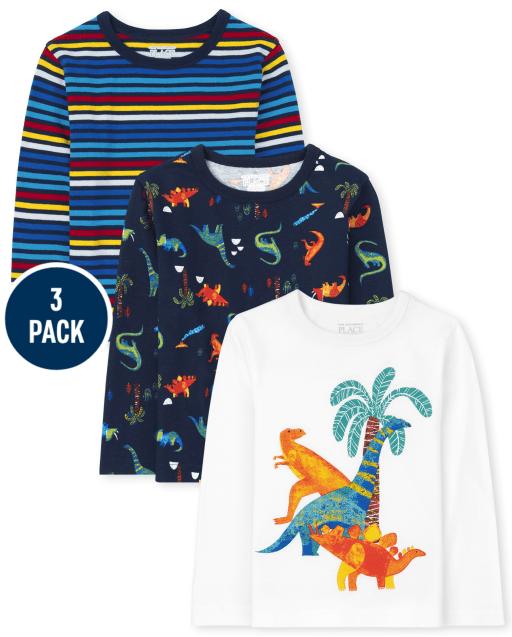 Toddler Boys Long Sleeve Dino Top 3-Pack