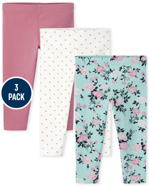 Toddler Girls Solid Floral And Dot Print Knit Leggings 3-Pack