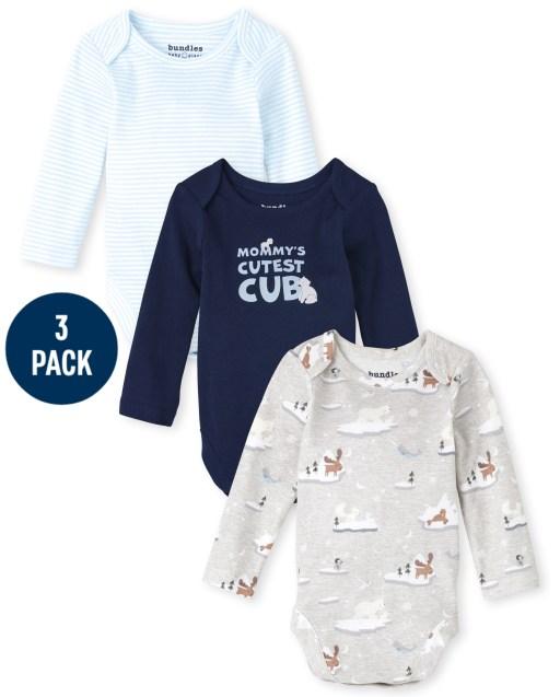 Baby Boys Long Sleeve Polar Bear Bodysuit 3-Pack