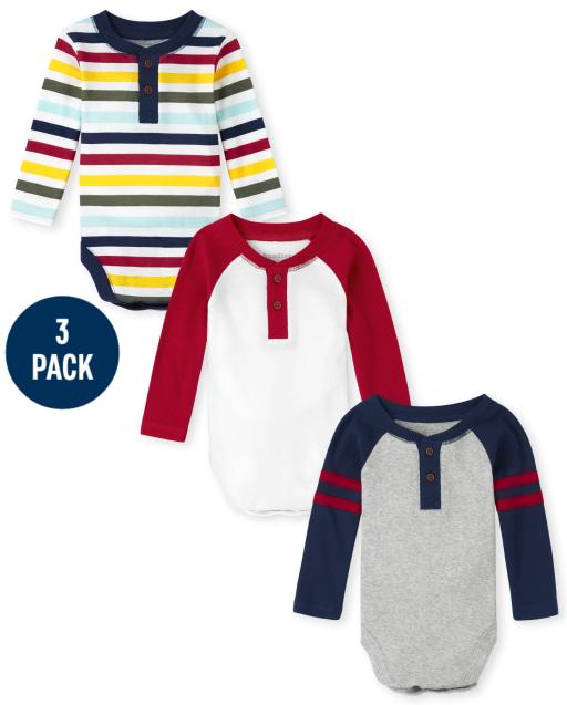 Baby Boys Long Raglan Sleeve Henley Bodysuit 3-Pack
