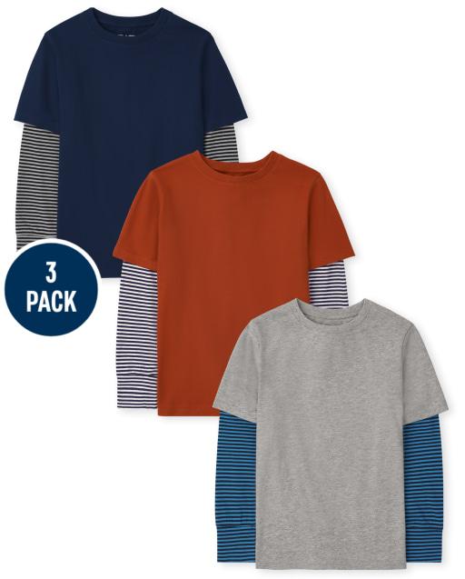 Pack de 3 camisetas 2 en 1 de manga larga a rayas para niños