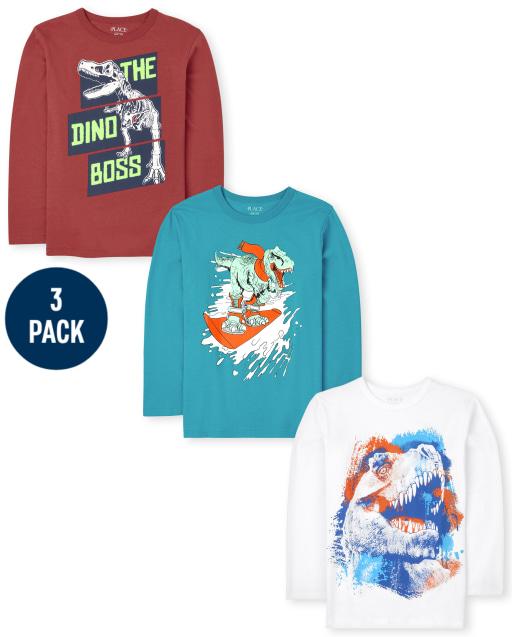 Boys Long Sleeve Dino Graphic Tee 3-Pack