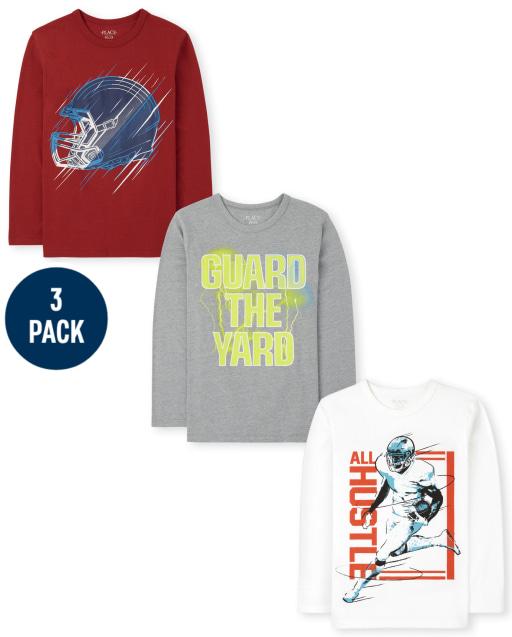 Boys Long Sleeve Football Graphic Tee 3-Pack