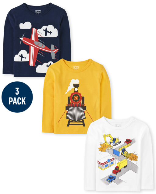Toddler Boys Long Sleeve Vehicle Graphic Tee 3-Pack