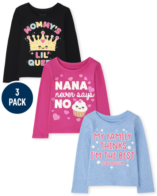 Toddler Girls Long Sleeve Family Graphic Tee 3-Pack