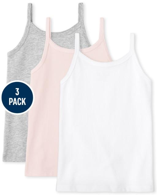 Camiseta básica sin mangas para niñas, paquete de 3